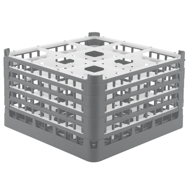 """Vollrath 52765 Signature Full-Size Gray 9-Compartment 10 9/16"""" XXX-Tall Plus Glass Rack Main Image 1"""