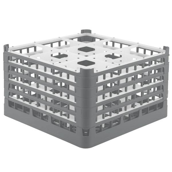 "Vollrath 52765 Signature Full-Size Gray 9-Compartment 10 9/16"" XXX-Tall Plus Glass Rack"