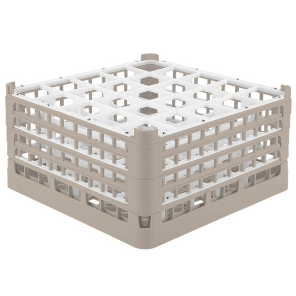 "Vollrath 52776 Signature Full-Size Beige 25-Compartment 9 1/16"" XX-Tall Plus Glass Rack Main Image 1"