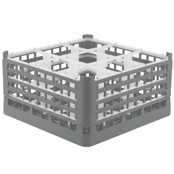 """Vollrath 52764 Signature Full-Size Gray 9-Compartment 9 1/16"""" XX-Tall Plus Glass Rack Main Image 1"""