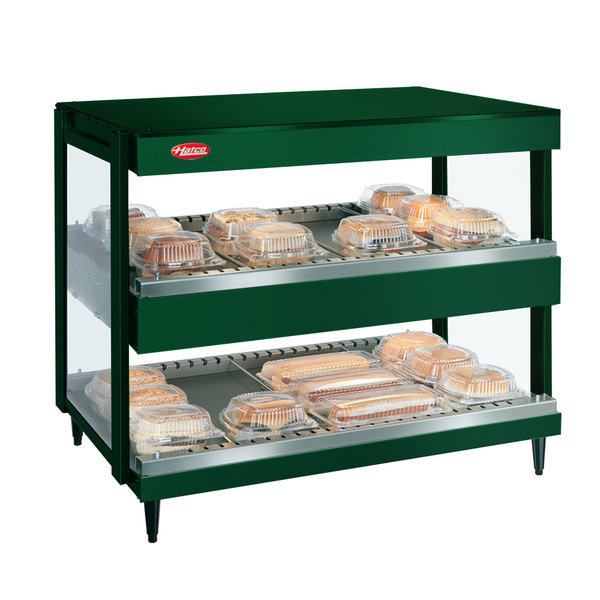 "Hatco GRSDH-41D Hunter Green Glo-Ray 41"" Horizontal Double Shelf Merchandiser - 120/208V"