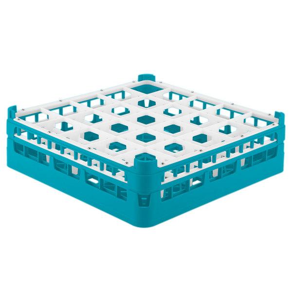 """Vollrath 52773 Signature Full-Size Light Blue 25-Compartment 4 13/16"""" Medium Plus Glass Rack Main Image 1"""