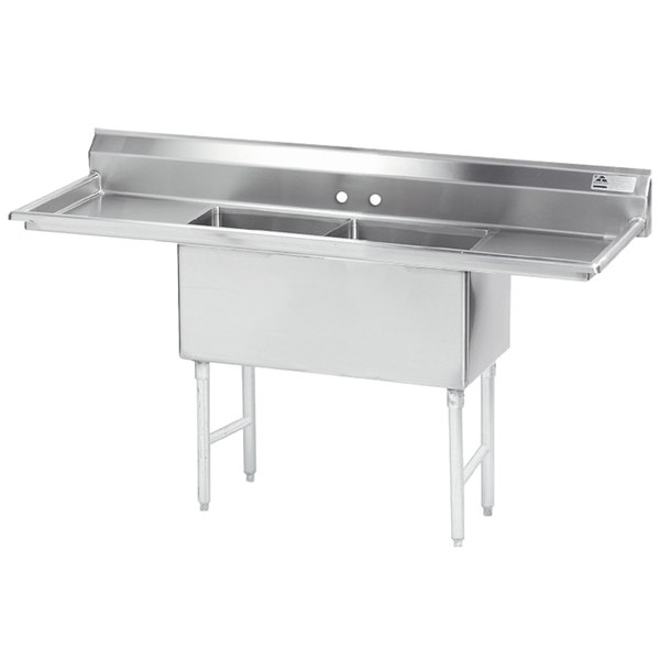 """Advance Tabco FS-2-3024-24RL Spec Line Fabricated Two Compartment Pot Sink with Two Drainboards - 108"""""""