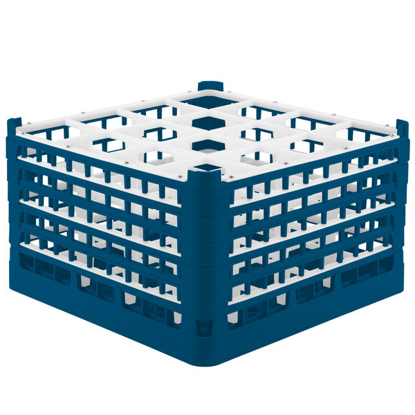 """Vollrath 52771 Signature Full-Size Royal Blue 16-Compartment 10 9/16"""" XXX-Tall Plus Glass Rack"""