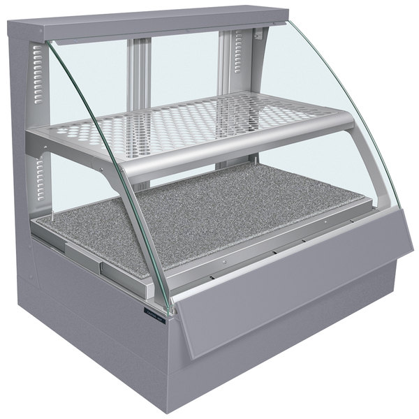Hatco FSCDH-2PD Gray Flav-R-Savor Convected Air Curved Front Display Case with Humidity Control - 120/240V