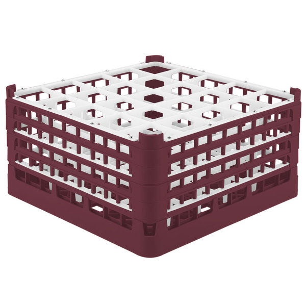 "Vollrath 52776 Signature Full-Size Burgundy 25-Compartment 9 1/16"" XX-Tall Plus Glass Rack"