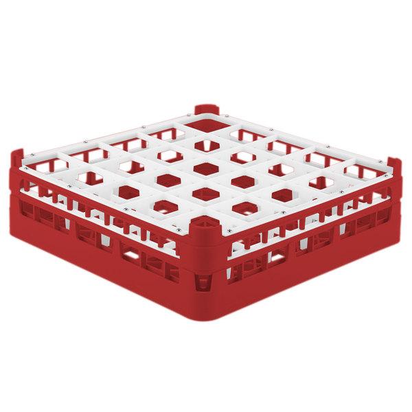 """Vollrath 52773 Signature Full-Size Red 25-Compartment 4 13/16"""" Medium Plus Glass Rack"""