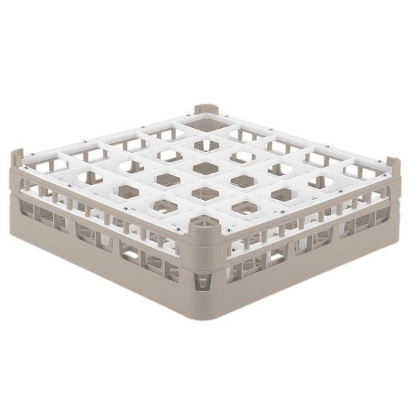 """Vollrath 52773 Signature Full-Size Beige 25-Compartment 4 13/16"""" Medium Plus Glass Rack"""