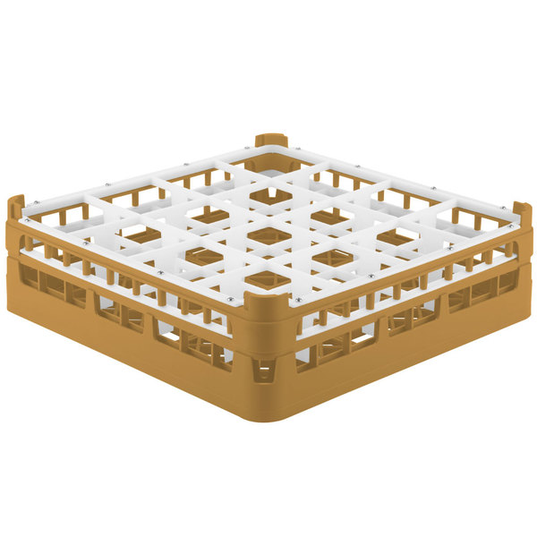 """Vollrath 52767 Signature Full-Size Gold 16-Compartment 4 13/16"""" Medium Plus Glass Rack"""