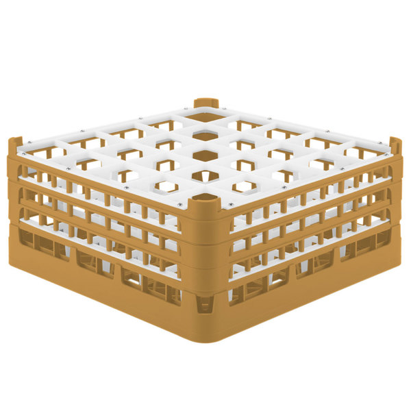 """Vollrath 52775 Signature Full-Size Gold 25-Compartment 7 11/16"""" X-Tall Plus Glass Rack"""
