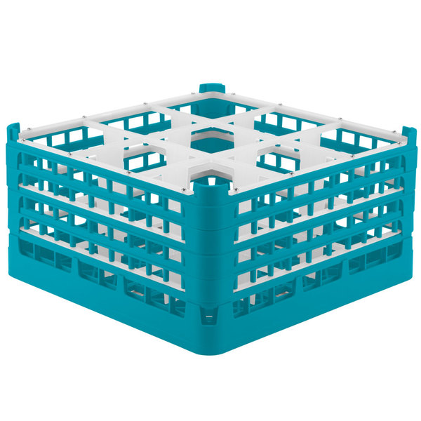 "Vollrath 52764 Signature Full-Size Light Blue 9-Compartment 9 1/16"" XX-Tall Plus Glass Rack"