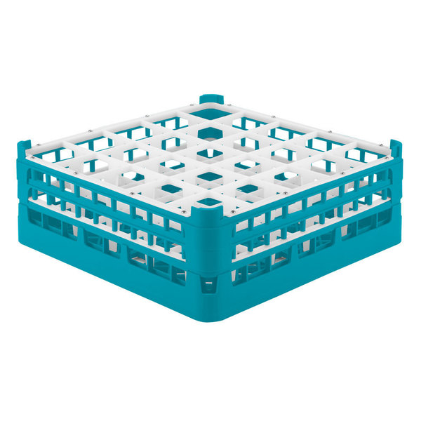 """Vollrath 52774 Signature Full-Size Light Blue 25-Compartment 6 1/4"""" Tall Plus Glass Rack"""