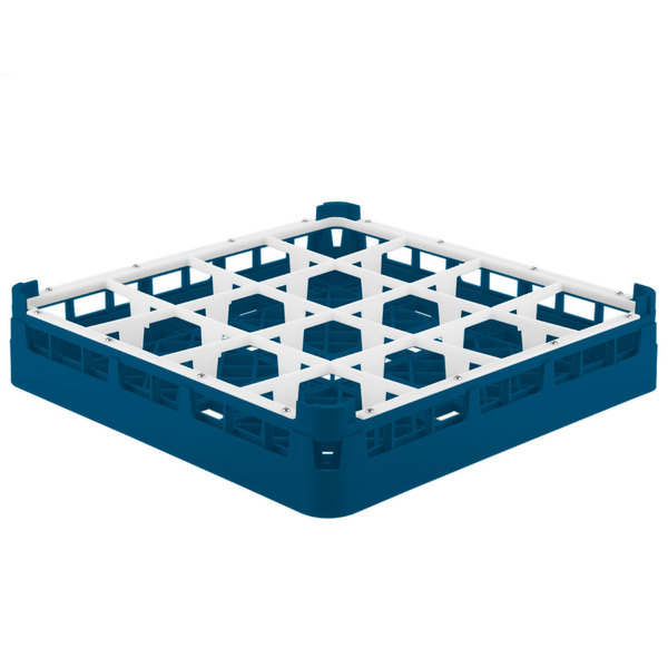 "Vollrath 52766 Signature Full-Size Royal Blue 16-Compartment 3 1/4"" Short Plus Glass Rack"