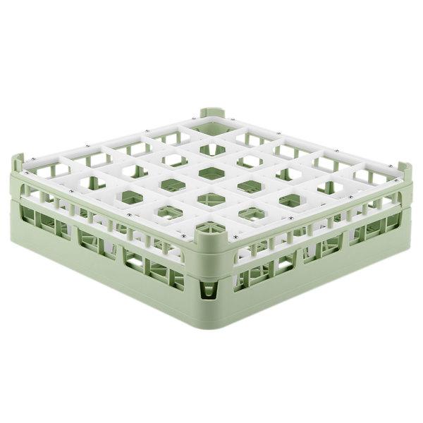 """Vollrath 52773 Signature Full-Size Light Green 25-Compartment 4 13/16"""" Medium Plus Glass Rack"""