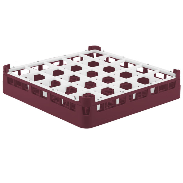 "Vollrath 52772 Signature Full-Size Burgundy 25-Compartment 3 1/4"" Short Plus Glass Rack"