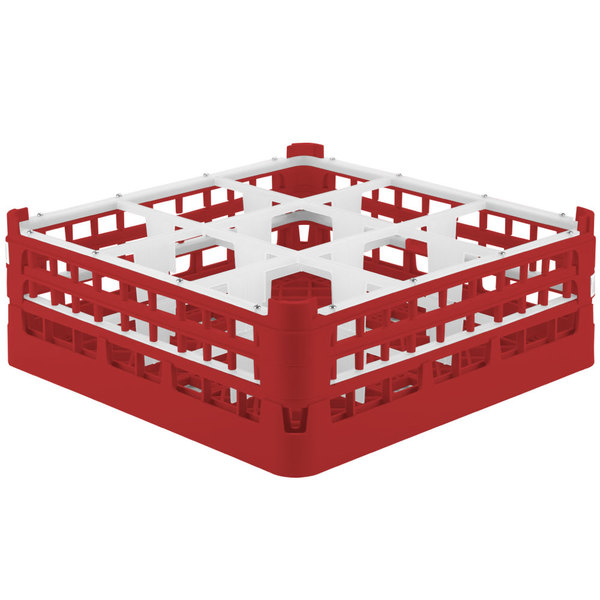"Vollrath 52762 Signature Full-Size Red 9-Compartment 6 1/4"" Tall Plus Glass Rack"
