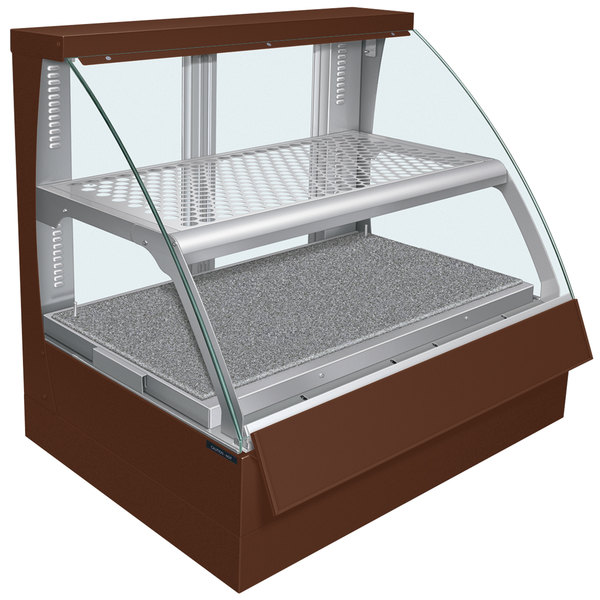 Hatco FSCDH-2PD Copper Flav-R-Savor Convected Air Curved Front Display Case with Humidity Control - 120/208V Main Image 1