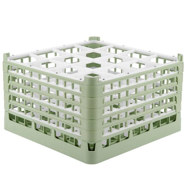 "Vollrath 52771 Signature Full-Size Light Green 16-Compartment 10 9/16"" XXX-Tall Plus Glass Rack Main Image 1"