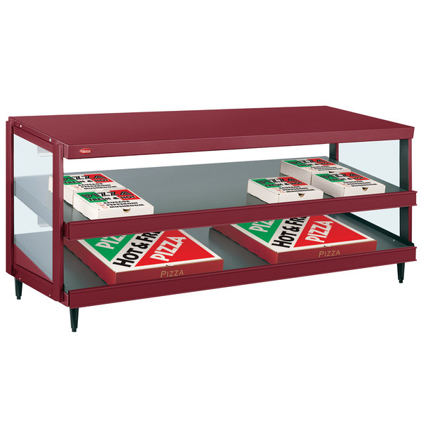 "Hatco GRPWS-4818D Wine Red Glo-Ray 48"" Double Shelf Pizza Warmer - 120/208V, 1920W"