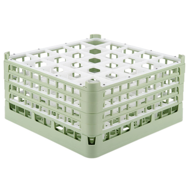 "Vollrath 52776 Signature Full-Size Light Green 25-Compartment 9 1/16"" XX-Tall Plus Glass Rack"