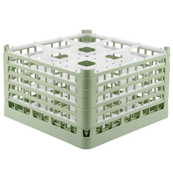 "Vollrath 52765 Signature Full-Size Light Green 9-Compartment 10 9/16"" XXX-Tall Plus Glass Rack"