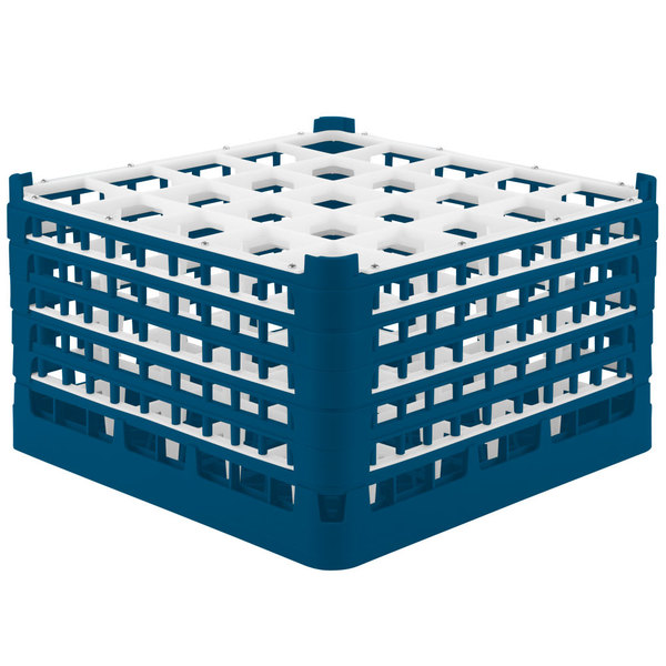"""Vollrath 52777 Signature Full-Size Royal Blue 25-Compartment 10 9/16"""" XXX-Tall Plus Glass Rack"""