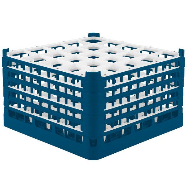 """Vollrath 52777 Signature Full-Size Royal Blue 25-Compartment 10 9/16"""" XXX-Tall Plus Glass Rack Main Image 1"""