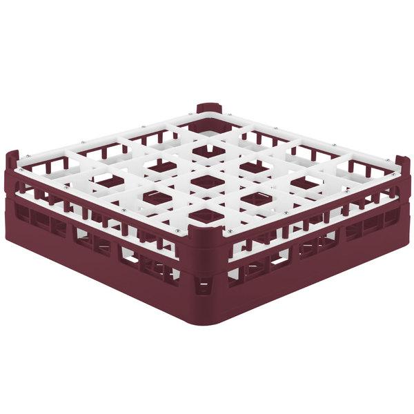 """Vollrath 52767 Signature Full-Size Burgundy 16-Compartment 4 13/16"""" Medium Plus Glass Rack"""