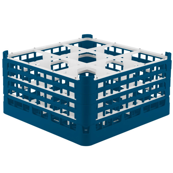 "Vollrath 52764 Signature Full-Size Royal Blue 9-Compartment 9 1/16"" XX-Tall Plus Glass Rack Main Image 1"