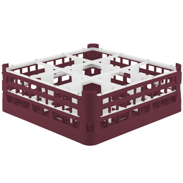 "Vollrath 52762 Signature Full-Size Burgundy 9-Compartment 6 1/4"" Tall Plus Glass Rack"