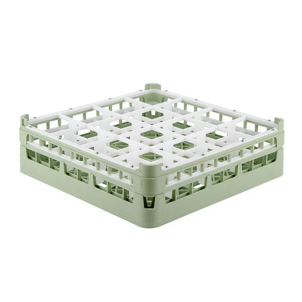 """Vollrath 52767 Signature Full-Size Light Green 16-Compartment 4 13/16"""" Medium Plus Glass Rack"""