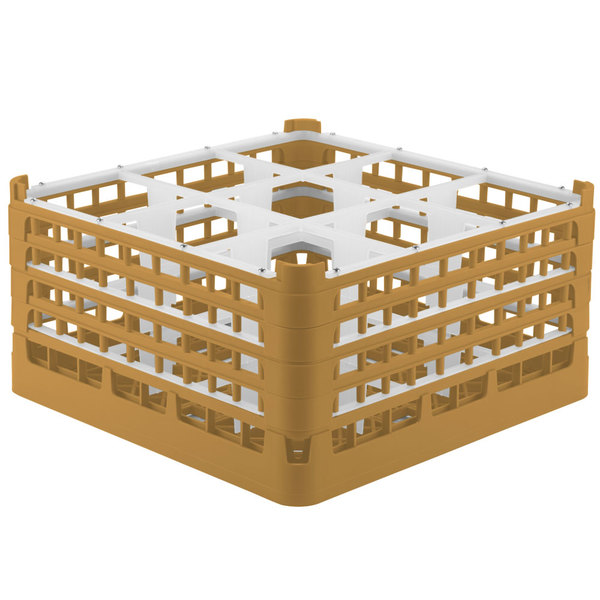 """Vollrath 52764 Signature Full-Size Gold 9-Compartment 9 1/16"""" XX-Tall Plus Glass Rack"""