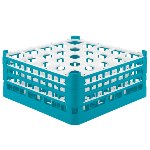 "Vollrath 52775 Signature Full-Size Light Blue 25-Compartment 7 11/16"" X-Tall Plus Glass Rack"
