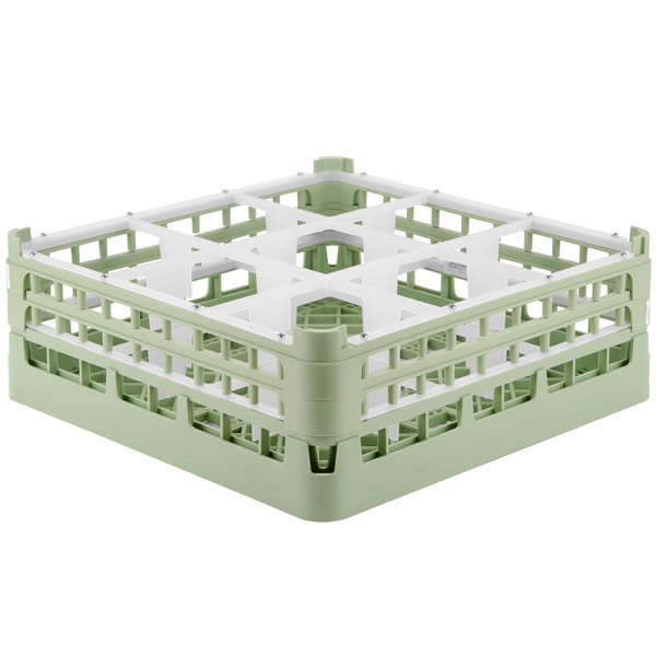 """Vollrath 52762 Signature Full-Size Light Green 9-Compartment 6 1/4"""" Tall Plus Glass Rack"""