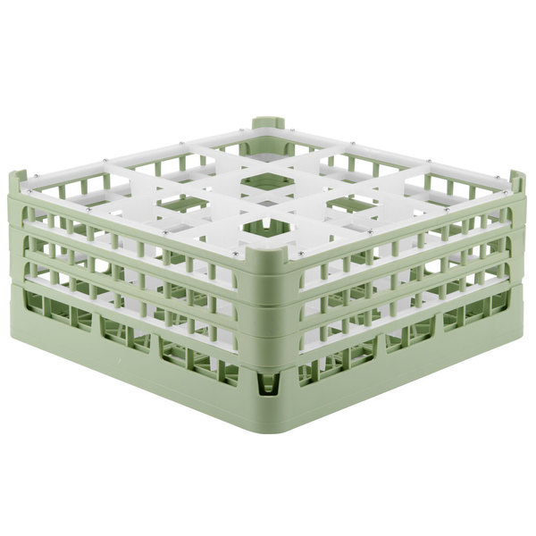 "Vollrath 52763 Signature Full-Size Light Green 9-Compartment 7 11/16"" X-Tall Plus Glass Rack"
