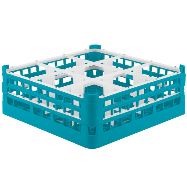 """Vollrath 52762 Signature Full-Size Light Blue 9-Compartment 6 1/4"""" Tall Plus Glass Rack Main Image 1"""