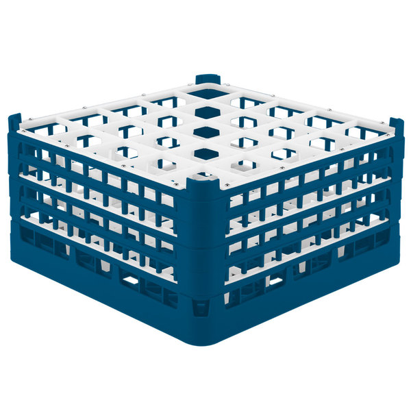"""Vollrath 52776 Signature Full-Size Royal Blue 25-Compartment 9 1/16"""" XX-Tall Plus Glass Rack Main Image 1"""