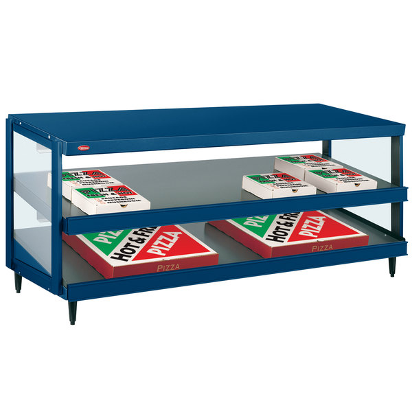 "Hatco GRPWS-4818D Navy Blue Glo-Ray 48"" Double Shelf Pizza Warmer - 120V, 1920W Main Image 1"