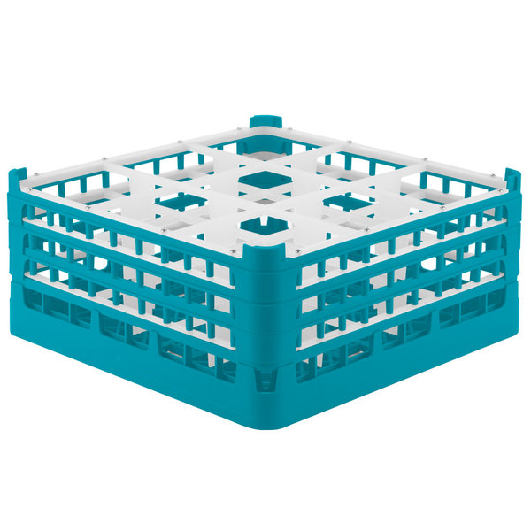 "Vollrath 52763 Signature Full-Size Light Blue 9-Compartment 7 11/16"" X-Tall Plus Glass Rack"