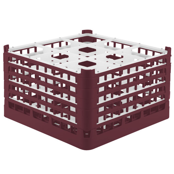 "Vollrath 52765 Signature Full-Size Burgundy 9-Compartment 10 9/16"" XXX-Tall Plus Glass Rack"
