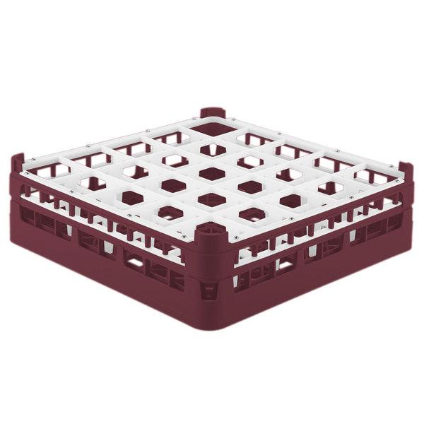 """Vollrath 52773 Signature Full-Size Burgundy 25-Compartment 4 13/16"""" Medium Plus Glass Rack Main Image 1"""