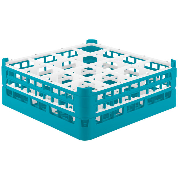 """Vollrath 52768 Signature Full-Size Light Blue 16-Compartment 6 1/4"""" Tall Plus Glass Rack Main Image 1"""