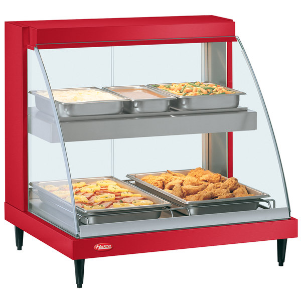 "Hatco GRCD-2PD Red 32"" Glo-Ray Full Service Double Shelf Merchandiser - 120V, 1210W"