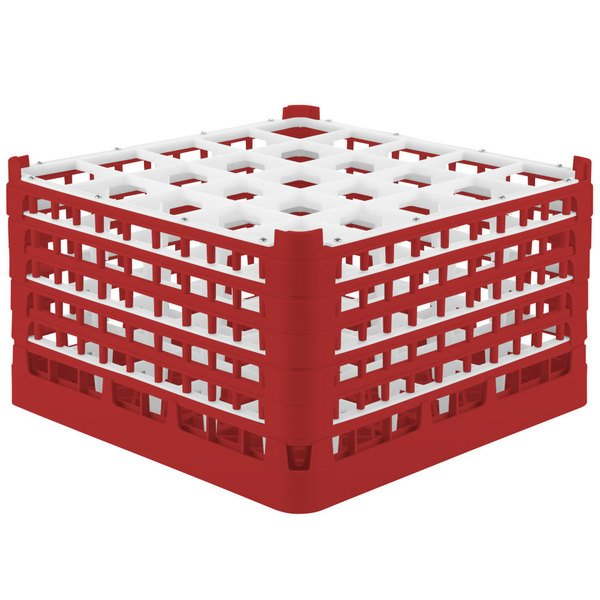 """Vollrath 52777 Signature Full-Size Red 25-Compartment 10 9/16"""" XXX-Tall Plus Glass Rack"""