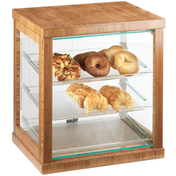 """Cal-Mil 284-60 Three Tier Bamboo Display Case with Rear Doors - 21"""" x 16 1/4"""" x 22 1/2"""""""