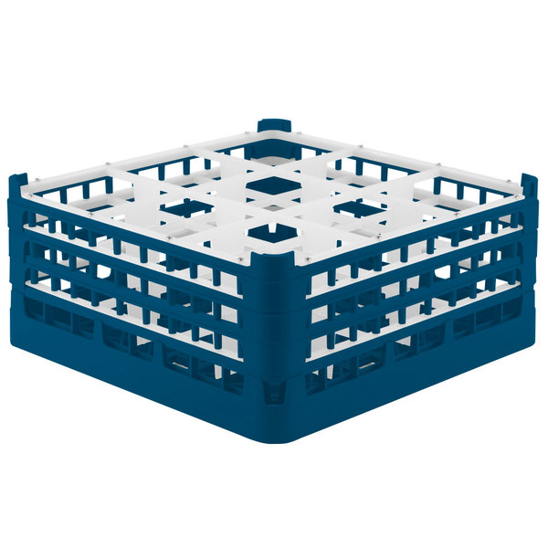 """Vollrath 52763 Signature Full-Size Royal Blue 9-Compartment 7 11/16"""" X-Tall Plus Glass Rack"""