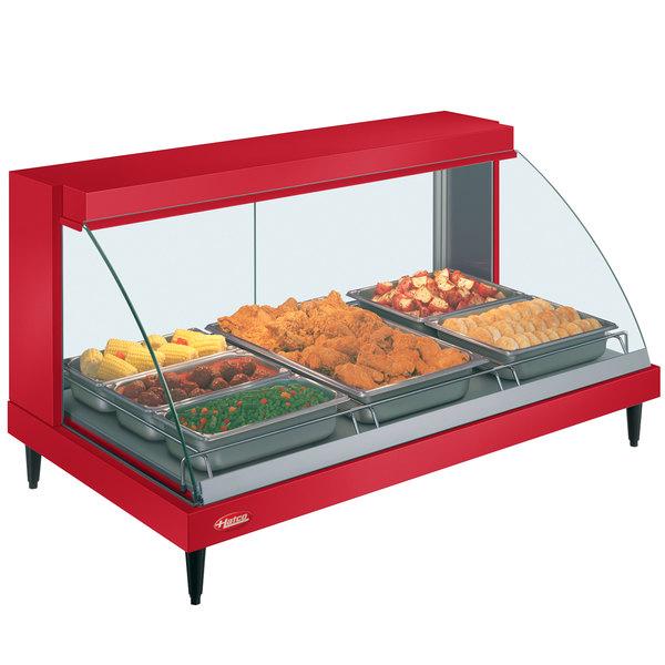 "Hatco GRCD-3P Red 45"" Glo-Ray Full Service Single Shelf Merchandiser - 120V, 1005W"