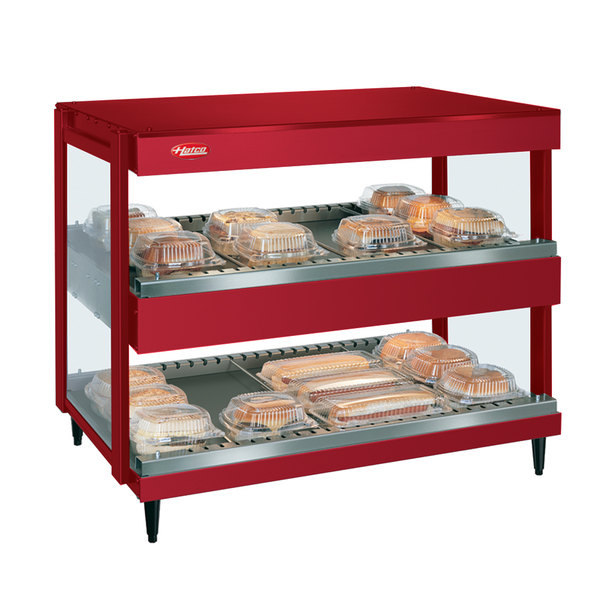 "Hatco GRSDH-41D Warm Red Glo-Ray 41"" Horizontal Double Shelf Merchandiser - 120/240V"