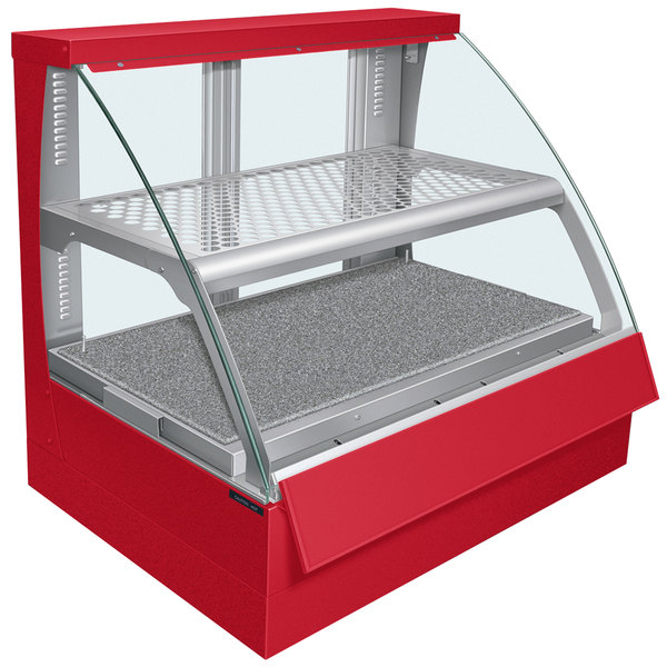 Hatco FSCDH-2PD Red Flav-R-Savor Convected Air Curved Front Display Case with Humidity Control - 120/240V