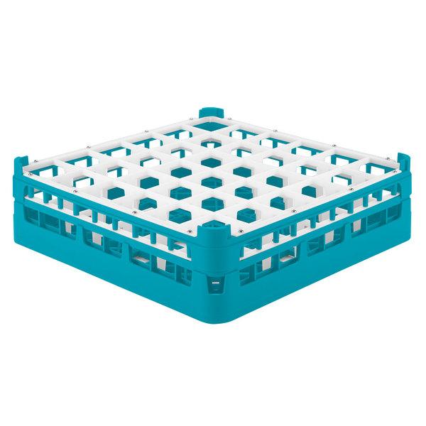 """Vollrath 52779 Signature Full-Size Light Blue 36-Compartment 4 13/16"""" Medium Plus Glass Rack Main Image 1"""